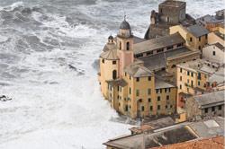 Water encroaching on coastal buildings