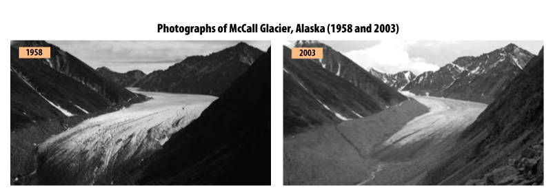 These two photographs of the McCall Glacier in Alaska were taken from the same location in 1958 and 2003. The newer photo shows how far the glacier has receded since the first photo was taken.