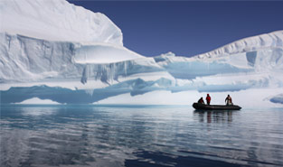 People on small boat in arctic climate