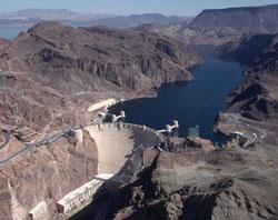 Dam between mountains