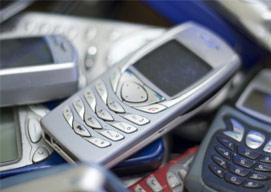 cell phones in bin