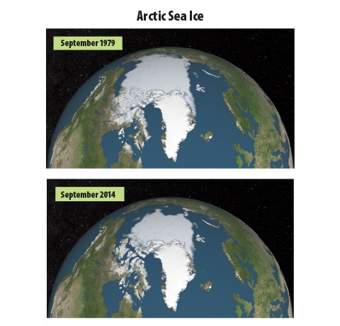 Two satellite maps comparing the extent of Arctic sea ice in September 1979 with the extent in September 2007, which was 39 percent smaller.