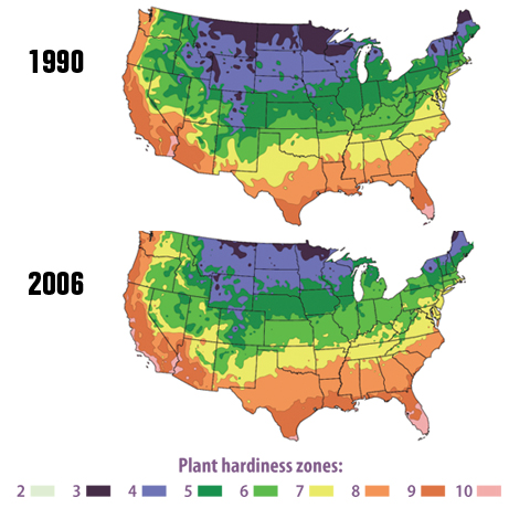 Two color-coded maps of the lower 48 states. One shows plant hardiness zones in 1990, and the other shows plant hardiness zones in 2006. Hardiness zones indicate what types of plants can grow in a particular area.