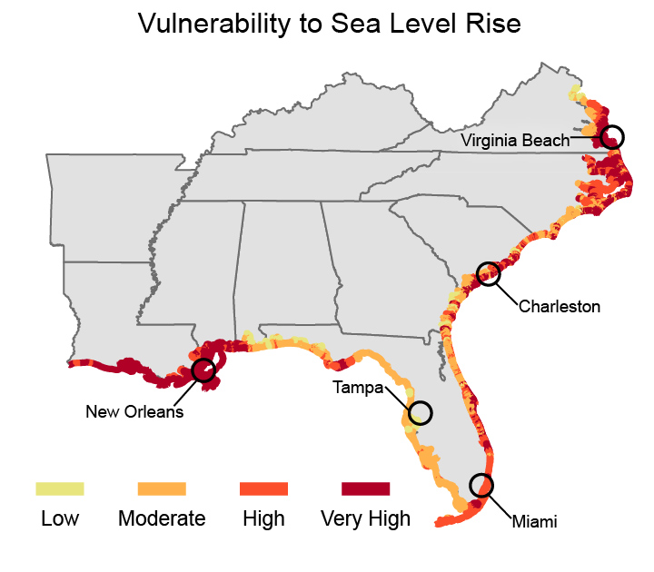 Climate Impacts In The Southeast Climate Change Impacts US EPA - Map of southeast us