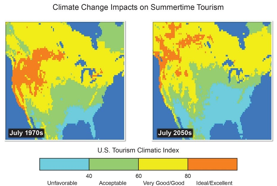 Climate Change And Tourism Map Displaying Increasing Unfavorible Us Summer Tourism Climatic Index