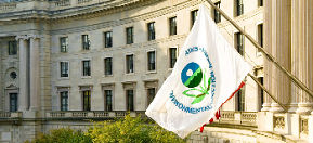 Image of the EPA flag in front of EPA offices in Washington, DC
