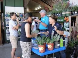 Staff members talking with community members about native plants at an information table at a farmer's market