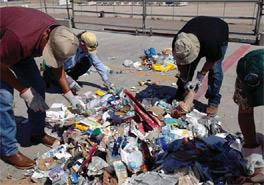 Gila River Indian Community staff conducting a recycling audit in April 2012.