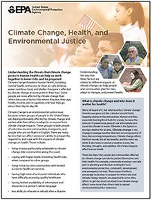 """Image of the first page of the """"Climate Change, Health, and Environmental Justice"""" fact sheet."""