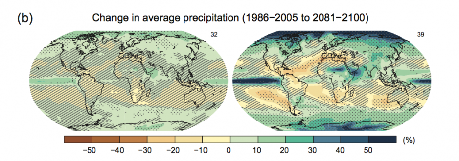 Two maps displaying change in average precipitation (1986-2005 to 2081-2100). The high emissions scenario generally shows increases in precipitation.