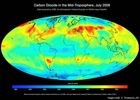 NASA image showing carbon dioxide in the mid-troposphere, July 2009.