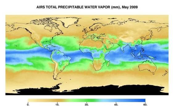 NASA graphic showing AIRS total preciptable water vapor (mm), May 2009.