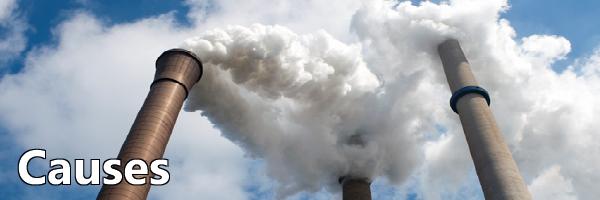 Smoke emits from a facility smokestack