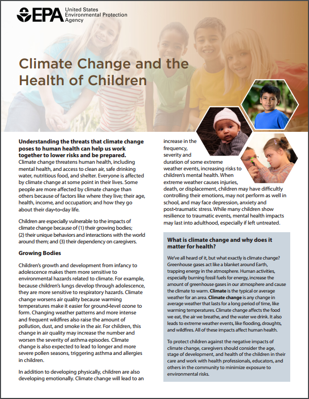 Image of the first page of the 'Climate Change, Health, and Children' fact sheet.