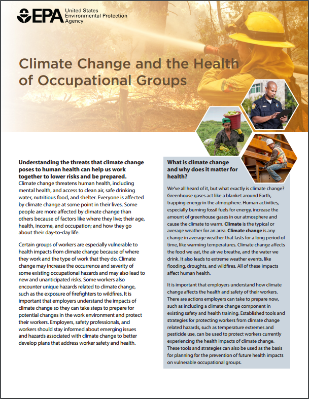 Image of the first page of the 'Climate Change, Health, and Occupational Groups' fact sheet.