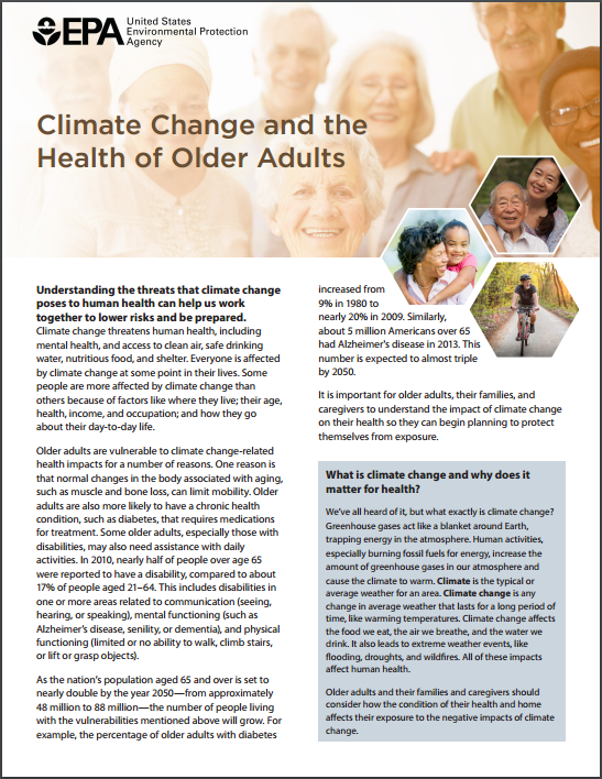 Image of the first page of the 'Climate Change, Health, and Older Adults' fact sheet.