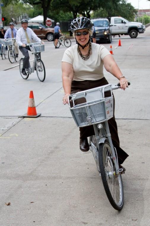 Houston bike rider at B-cycle Kick-off