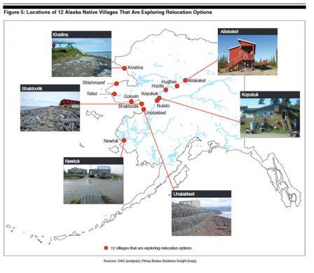 Map of Locations of 12 Native Villages considering relocation. Villages include Kivalina, Shishmaref, Teller, Golovin, Shaktoolik, Newtok, Unalakleet, Nulato, Koyukuk, Huslia, Hughes, and Allakaket.