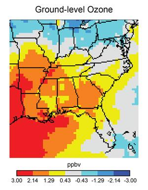 Projected average ground level ozone concentration in 2050 compared to 2001 in a scenario of gradually reduced GHG emissions. Northern FL, SC, eastern TN, central NC: increase of .43-1.29 ppbv. GA, AL, MS, AR, western TN: increase of 1.29-2.14 ppbv.