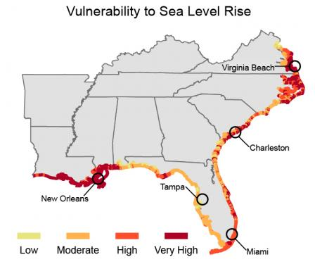 Map shows all southeastern coastal areas have moderate vulnerability to sea level rise. Mississippi, Louisiana, Charleston, Outer Banks, and Virginia Beach area show very high vulnerability. Eastern and southern coasts of Florida show high vulnerability.