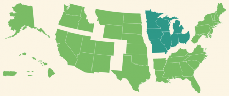 A map showing the regions of the United States, with the midwest region highlighted.