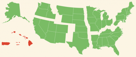 A map showing the regions of the United States, with the U.S. Islands region highlighted.