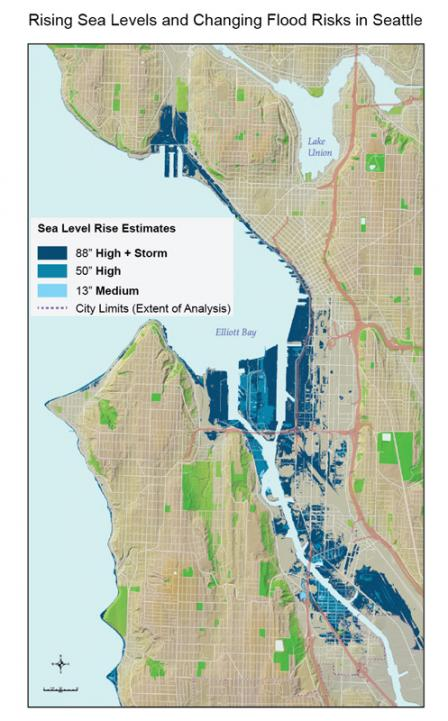 Map of Seattle showing areas projected to fall below sea level during high tide by end of the century. The high (50 inches) and medium (13 inches) estimates are within current projections. The highest level (88 inches) includes the effect of storm surge.