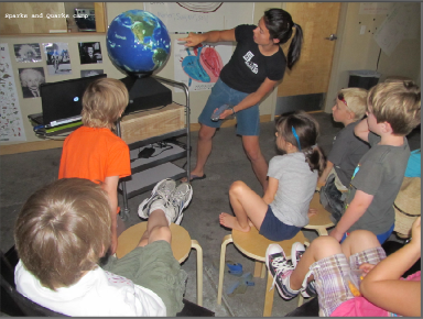 Sparks and Quarks Camp students