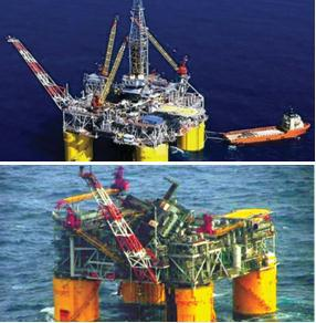 Two photographs of an oil platform. One appears to be functioning properly and the second shows a damaged platform.