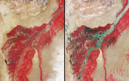 Side by side satellite images of the Indus River. Only a sliver of the river is visible in the wide red region for the image on the left. On the right, the river is much wider and the red region around the river is much darker, showing water spread throughout the land surrounding the river.