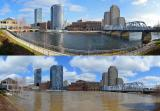 Before and after images of flooding in downtown Grand Rapids