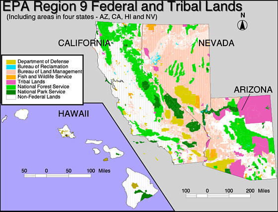 Breakdown Of Federal And Tribal Lands In Region Region - Map of us tribal lands